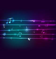 Neon light musical note on dark blue background vector