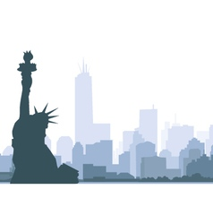 New york skyline and Statue of Liberty vector image