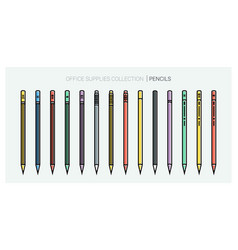 office supplies collection pencils set writing vector image