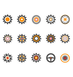 orange gear and cog icons vector image vector image