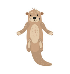 Otter cute animal character male white background vector