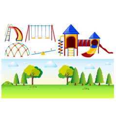 park scene with many play stations vector image