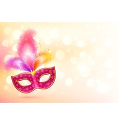 Pink carnival mask with colorful feathers banner vector image