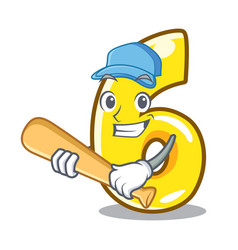 Playing baseball character number six on brick vector