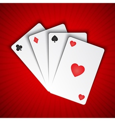 Playing cards on red background vector image