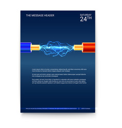 Poster design electric cable with sparks copper vector