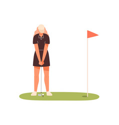 professional female golf player aiming to hit on vector image