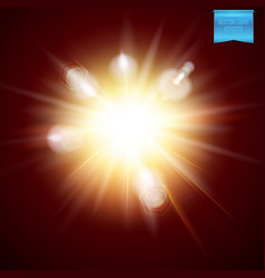 Realistic fiery explosive burst light effect vector