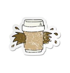 Retro distressed sticker a cartoon exploding vector