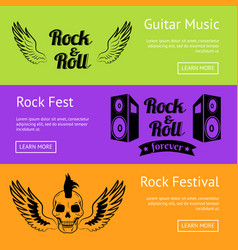 Rock music collection of creative colorful posters vector