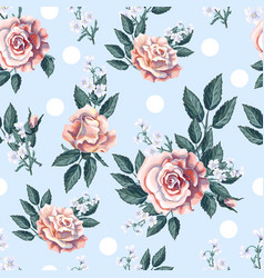 Seamless pattern with tea roses bouquet vector