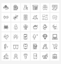 Set 36 modern line icons gift pencil avatar vector