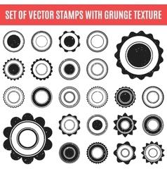 set black grunge stamp round shapes vector image