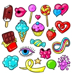 Set kawaii sweets and candies crazy sweet vector