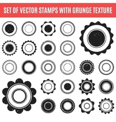 Set of black grunge stamp Round shapes vector image