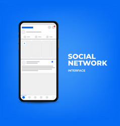 smartphone with interface on social network vector image