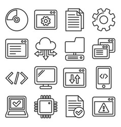 software and hardware programing icons set line vector image