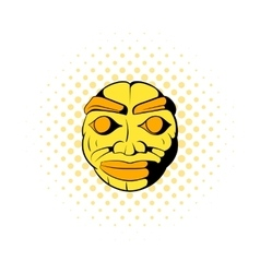 Stone face icon comics style vector
