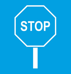 Stop road sign icon white vector