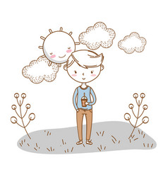 Stylish boy cartoon outfit nature clouds vector