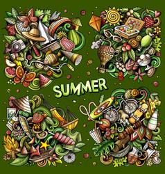 Summer cartoon doodle designs set vector