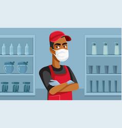 supermarket worker wearing face mask standing vector image
