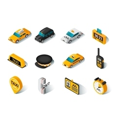 Taxi isometric icons set vector image