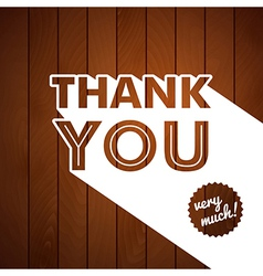 Thank you card with typography on a wooden vector