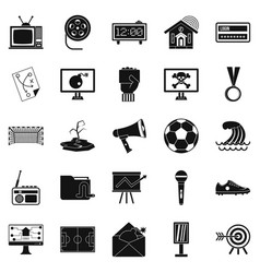 tv icons set simple style vector image