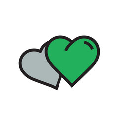 Two heart icon cartoon green color vector