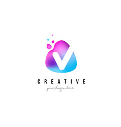 V letter dots logo design with oval shape vector