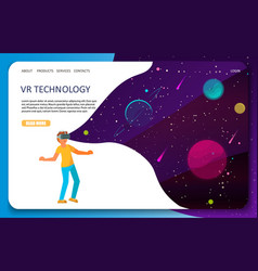 vr technology landing page website template vector image