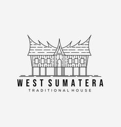 West sumatra traditional house line art logo vector