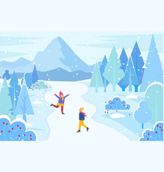 Winter landscape with happy skating people vector