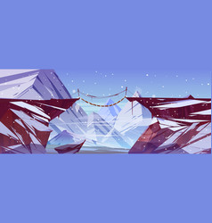 Winter landscape with mountains and wooden bridge vector