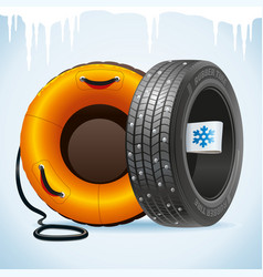 winter tire and snow tubing vector image