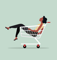 woman sitting in shopping cart vector image