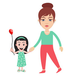 woman with little girl on white background vector image
