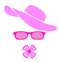 Women accessories pink hat glasses and bow vector