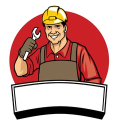 Worker wearing a hard hat and hold wrench vector
