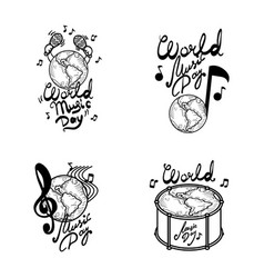 world music day banner set hand drawn style vector image