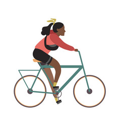 young character riding bicycle black african girl vector image