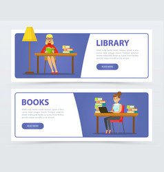 young women reading books in library banners set vector image