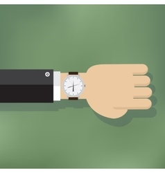 a human hand with watch vector image