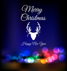 Christmas reindeer on bokeh background vector image