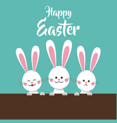 cute bunnies happy easter vector image