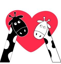 Cute cartoon black white giraffe boy and girl Big vector image vector image