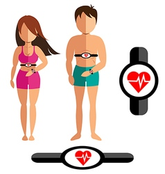 Heart rate monitor for healthy man and women vector image