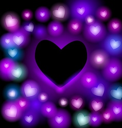 Abstract background with neon hearts on black vector image