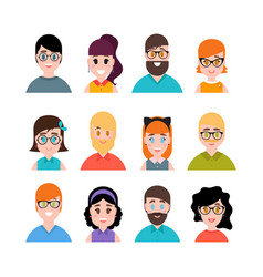 people avatars collection male and female vector image vector image